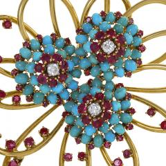 John Rubel John Rubel Ruby Diamond Turquoise Clip Brooch and Earrings Suit - 1068349