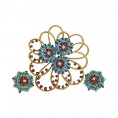 John Rubel John Rubel Ruby Diamond Turquoise Clip Brooch and Earrings Suit - 1068979