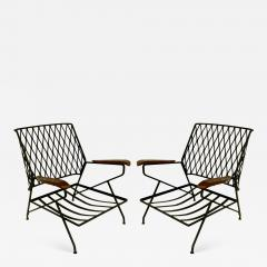 John Salterini John S Salterini Wrought Iron Wood Armchairs Salterini Furniture of NY - 1090956