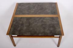 John Van Koert John Van Koert Leather Wrapped Oak Two Tier Coffee Table - 1760594