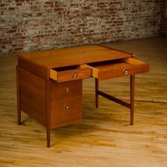 John Van Koert Mid Century walnut desk w side extension designed by John Van Koert for Drexel - 2033420