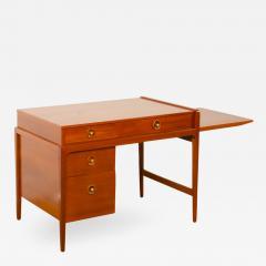 John Van Koert Mid Century walnut desk w side extension designed by John Van Koert for Drexel - 2035844