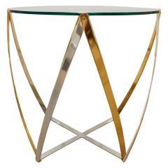 John Vesey John Vesey Brass and Brushed Aluminum End Table 1970s - 436851