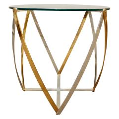 John Vesey John Vesey Brass and Brushed Aluminum End Table 1970s - 436854