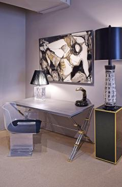 John Vesey John Vesey Desk in Stainless Steel and Brass with Embossed Leather Top 1970s - 1959087