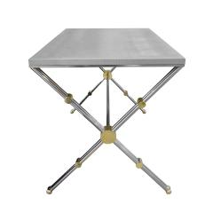 John Vesey John Vesey Desk in Stainless Steel and Brass with Embossed Leather Top 1970s - 1959088