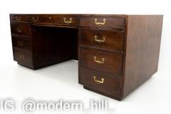 John Widdicomb Mid Century Burlwood Campaign Executive Desk - 1869767