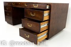 John Widdicomb Mid Century Burlwood Campaign Executive Desk - 1869771