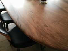 Jonathan Field Oval Pebble Edged Walnut Table on Black Waxed Steel Legs - 1985409