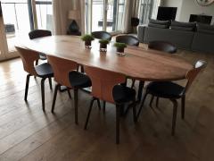 Jonathan Field Oval Pebble Edged Walnut Table on Black Waxed Steel Legs - 1985410