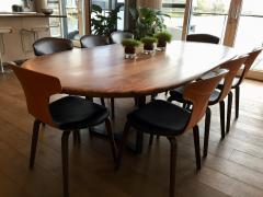 Jonathan Field Oval Pebble Edged Walnut Table on Black Waxed Steel Legs - 1985411