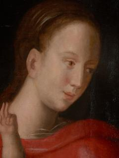 Joos van Cleve 16th C Biblical Manner of Joos van Cleve Madonna with Child Oil on Panel - 1996209