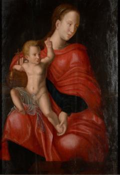 Joos van Cleve 16th C Biblical Manner of Joos van Cleve Madonna with Child Oil on Panel - 1996211