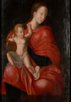 Joos van Cleve 16th C Biblical Manner of Joos van Cleve Madonna with Child Oil on Panel - 1996249