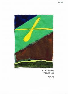 Jorge Fick Jorge Fick Untitled Acrylic on Paper 28 IX 69 in Green Navy Yellow and Brown - 368550
