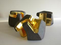 Jorge Y zpik UNTITLED CERAMIC AND GOLD sculpture 1 2 3 set  - 1400909
