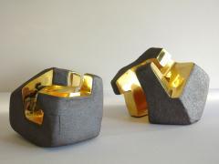 Jorge Y zpik UNTITLED CERAMIC AND GOLD sculpture 1 2 3 set  - 1400913