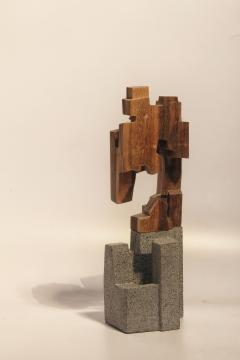 Jorge Y zpik Untitled Sculpture wood and volcanic stone II - 1147113