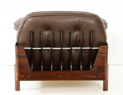 Jorge Zalszupin Brazilian Lounge Chair in Jacaranda and Brown Leather - 883017