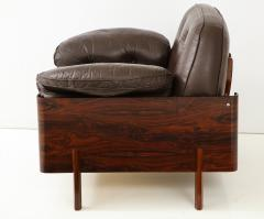 Jorge Zalszupin Brazilian Lounge Chair in Jacaranda and Brown Leather - 883020