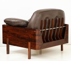 Jorge Zalszupin Brazilian Lounge Chair in Jacaranda and Brown Leather - 883021