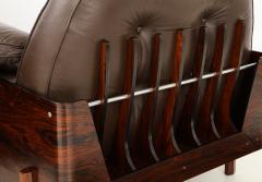 Jorge Zalszupin Brazilian Lounge Chair in Jacaranda and Brown Leather - 883022