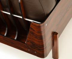 Jorge Zalszupin Brazilian Lounge Chair in Jacaranda and Brown Leather - 883023
