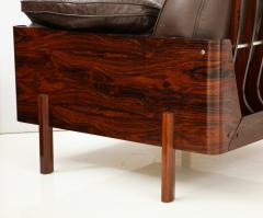 Jorge Zalszupin Brazilian Lounge Chair in Jacaranda and Brown Leather - 883025