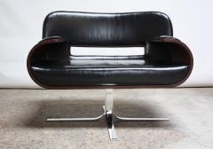 Jorge Zalszupin Brazilian Modern Jacaranda and Leather Swiveling Lounge Chair by Jorge Zalszupin - 577065
