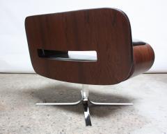 Jorge Zalszupin Brazilian Modern Jacaranda and Leather Swiveling Lounge Chair by Jorge Zalszupin - 577066