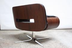 Jorge Zalszupin Brazilian Modern Jacaranda and Leather Swiveling Lounge Chair by Jorge Zalszupin - 577073