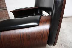 Jorge Zalszupin Brazilian Modern Jacaranda and Leather Swiveling Lounge Chair by Jorge Zalszupin - 577074
