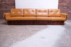 Jorge Zalszupin Brazilian Modern Rosewood and Leather Modular Sofa or Settees - 1147584