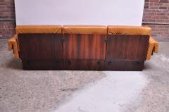 Jorge Zalszupin Brazilian Modern Rosewood and Leather Modular Sofa or Settees - 1147591