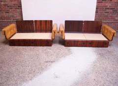 Jorge Zalszupin Brazilian Modern Rosewood and Leather Modular Sofa or Settees - 1147592