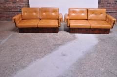 Jorge Zalszupin Brazilian Modern Rosewood and Leather Modular Sofa or Settees - 1147597