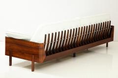 Jorge Zalszupin Brazilian Sofa in Jacaranda and White Leather - 1083772