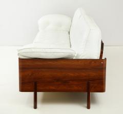 Jorge Zalszupin Brazilian Sofa in Jacaranda and White Leather - 1083773