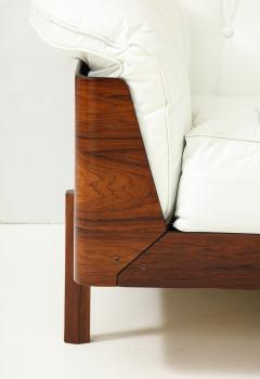 Jorge Zalszupin Brazilian Sofa in Jacaranda and White Leather - 1083778