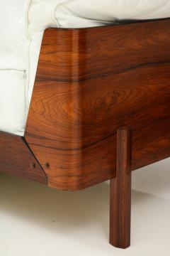 Jorge Zalszupin Brazilian Sofa in Jacaranda and White Leather - 1083781