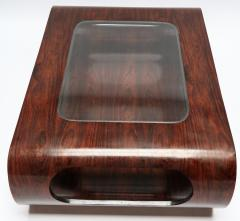 Jorge Zalszupin Pair of 1960s Zalszupin Style Brazilian Jacaranda Coffee Tables with Glass Top - 481590