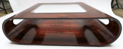 Jorge Zalszupin Pair of 1960s Zalszupin Style Brazilian Jacaranda Coffee Tables with Glass Top - 481591