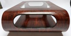 Jorge Zalszupin Pair of 1960s Zalszupin Style Brazilian Jacaranda Coffee Tables with Glass Top - 481593