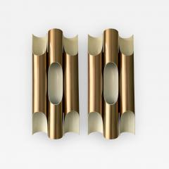 Jorgen Mogensen Pair of Maxi Fuga Sconces Gilt Metal by Komulainen for Raak Amsterdam 1970s - 1177911