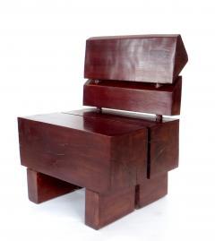 Jos Zanine Caldas Sculptural Low Brazilian Organic Modernist Design Vintage Rosewood Chair - 1020348