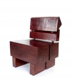 Jos Zanine Caldas Sculptural Low Brazilian Organic Modernist Design Vintage Rosewood Chair - 1020354