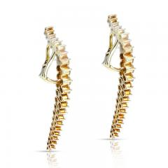 Jose Hess CURVY COCKTAIL DANGLING CLIP ON EARRINGS WITH ROUND DIAMONDS BY JOSE HESS - 2031130