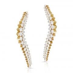 Jose Hess CURVY COCKTAIL DANGLING CLIP ON EARRINGS WITH ROUND DIAMONDS BY JOSE HESS - 2031131