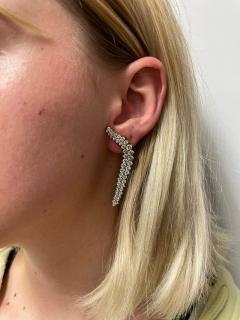 Jose Hess CURVY COCKTAIL DANGLING CLIP ON EARRINGS WITH ROUND DIAMONDS BY JOSE HESS - 2031132