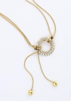 Jose Hess Gold Necklace with Love Knot Hearts and Diamond Circle - 1830997